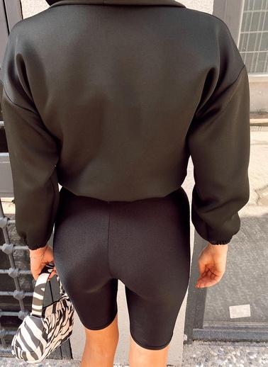 XHAN Siyah Baskılı Kapüşonlu Scuba Sweatshirt 1Kxk8-44202-02 Siyah